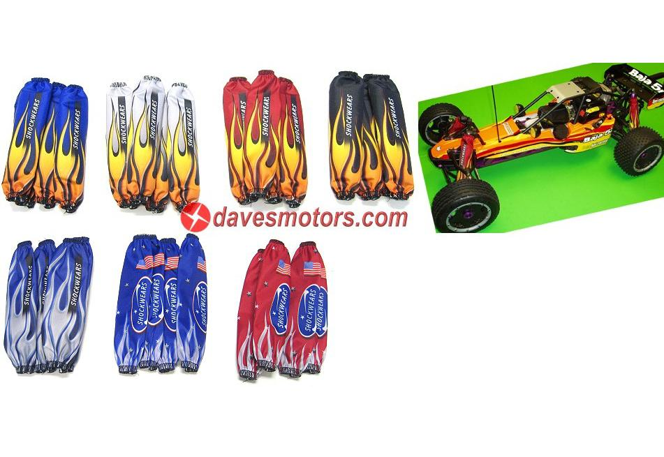 Outerwears Shockwears Flame Shock Cover Set for HPI Baja 5b black - DDM-TT520